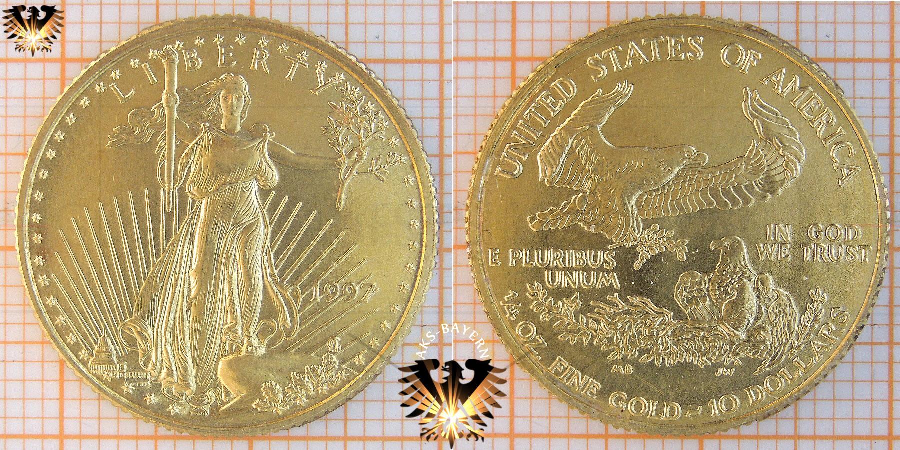 $10 Dollars, Liberty, USA, 1997, American Eagle, 1/4 Unze, Gold © goldankaufstelle-bayern.de