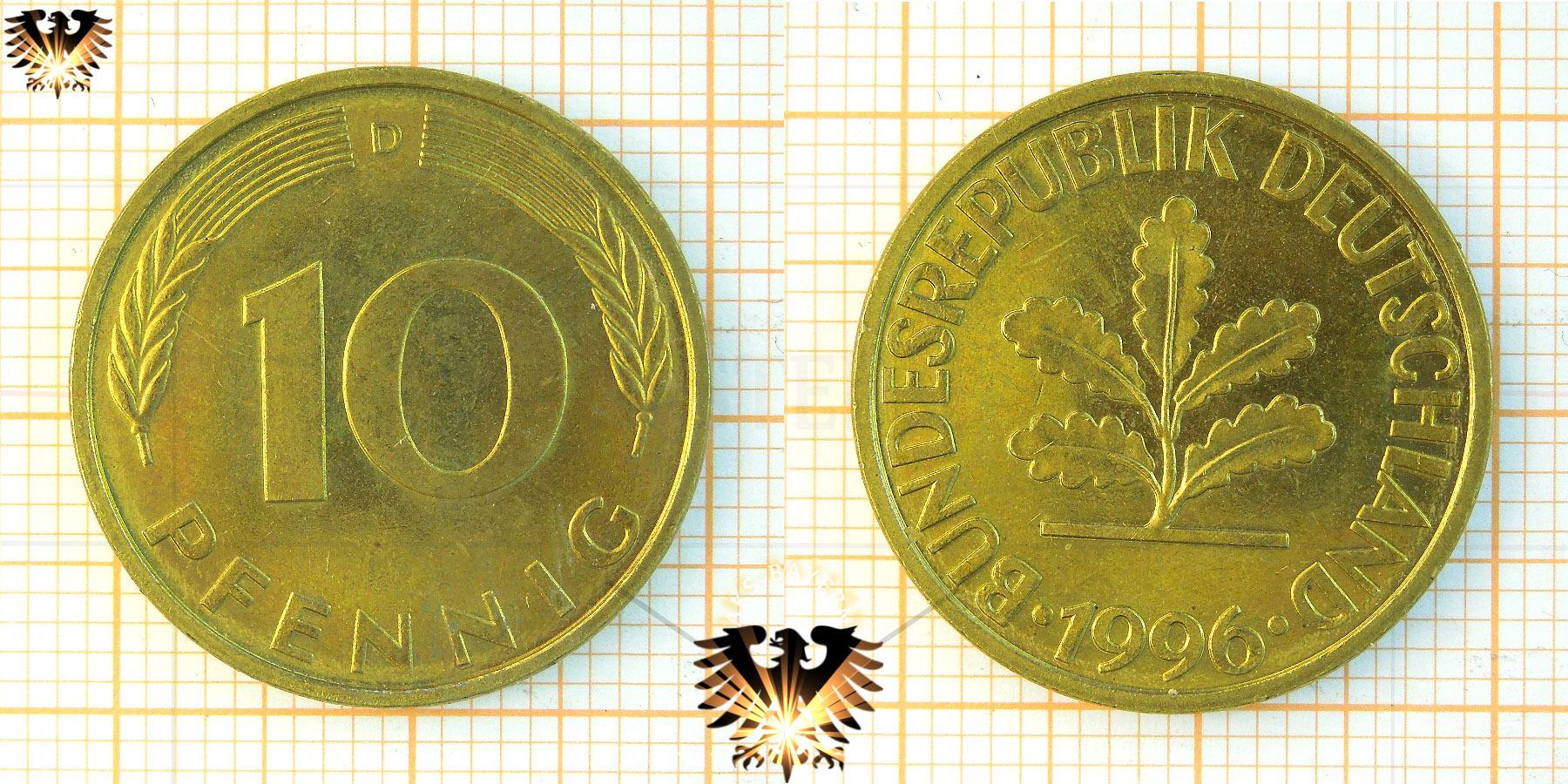 10 Pfennig Brd Nominal Geprägt 1950 Bis 2001