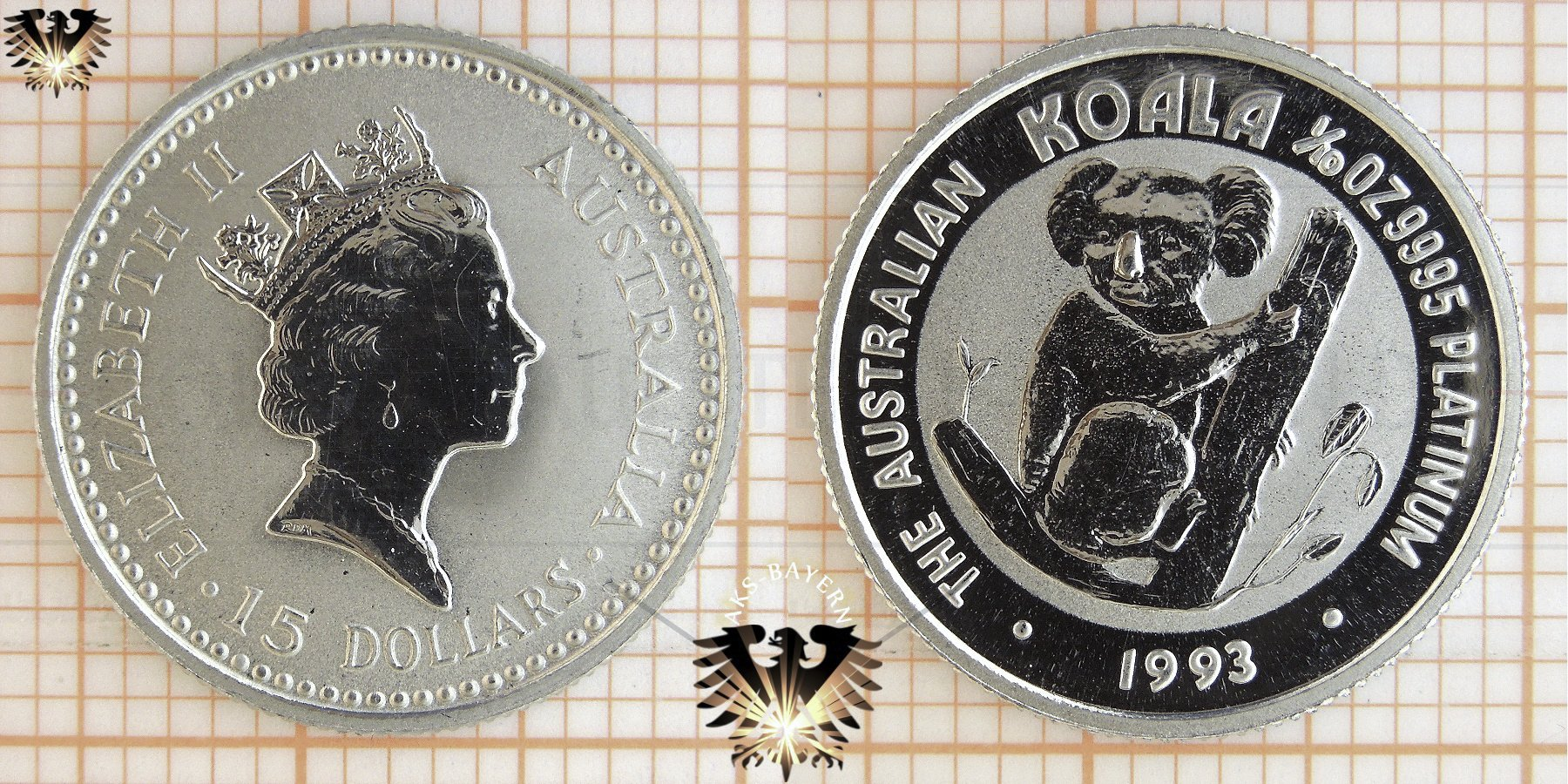 15 Aud 15 Dollars 1993 Australien Koala 110 Oz Platin