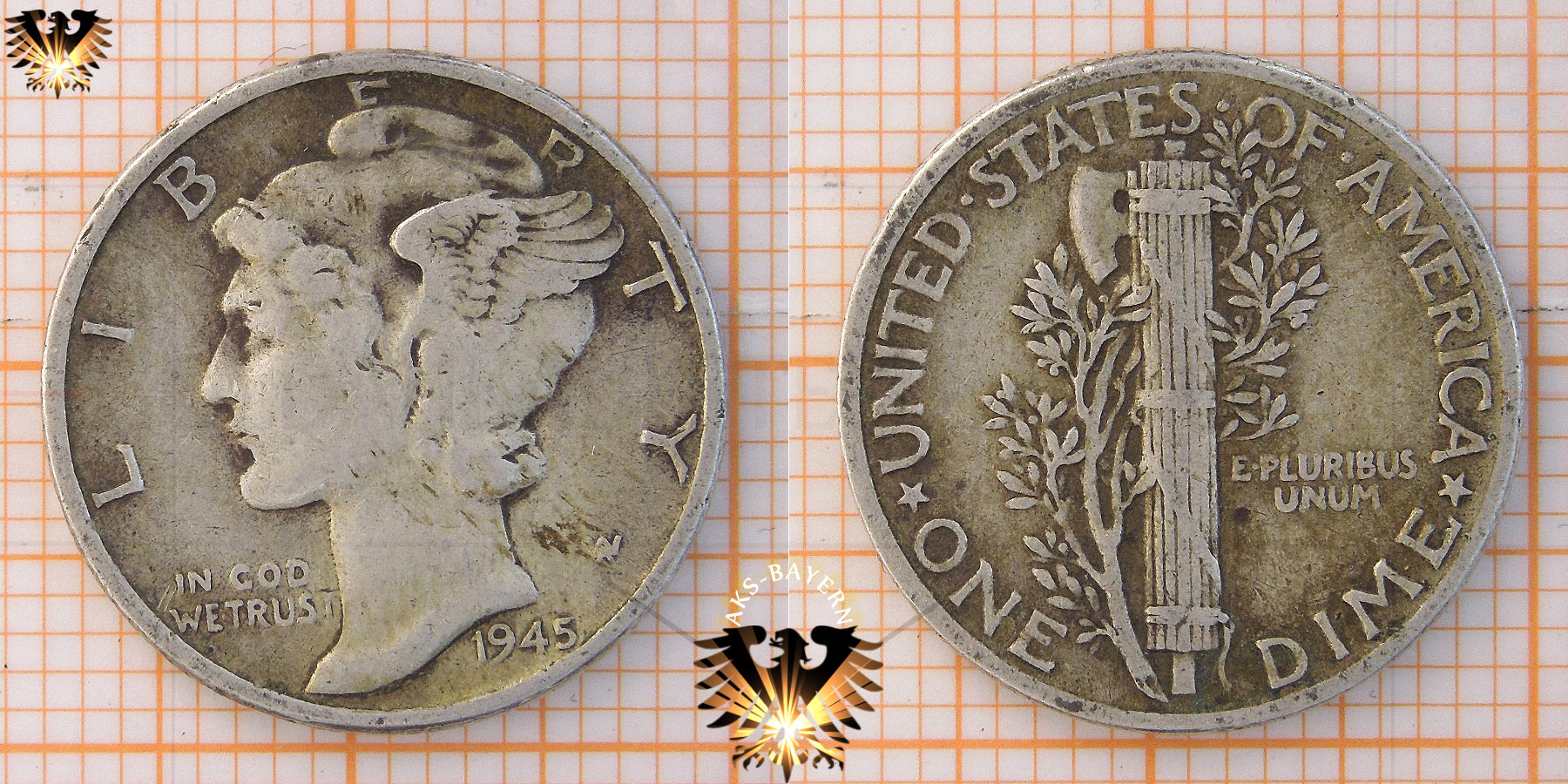 10 Cent 1 Dime Usa 1945 Mercury Dime 1916 1945