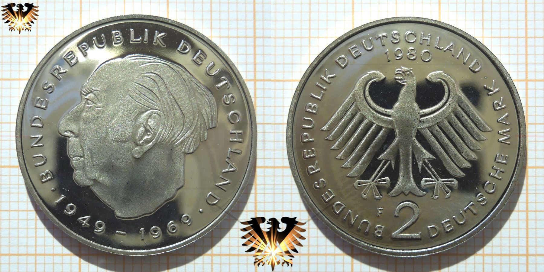 2 Dm Brd 1980 Theodor Heuss Münze 20 Jahre Grundgesetz