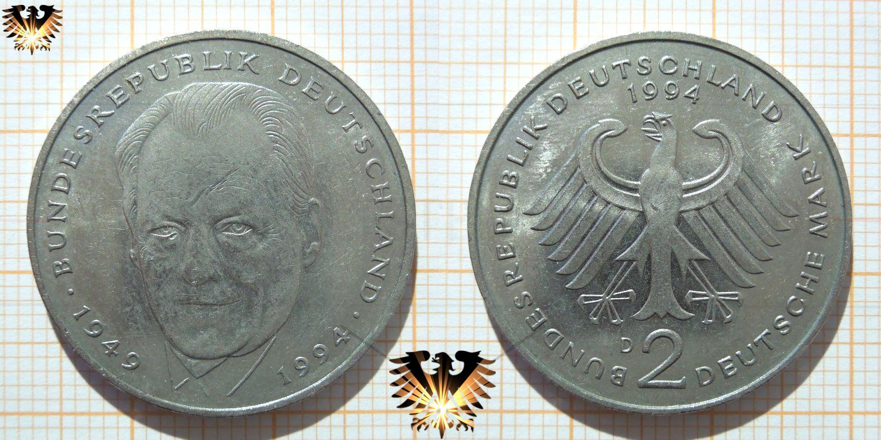 2 Dm Münze Brd 1994 Willi Brandt 45 Jahre Bundesrepublik