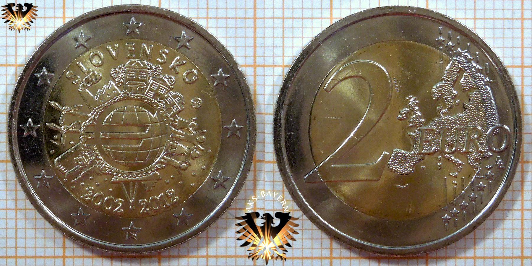 2 Euro Slowakei 2012 Nominal Sammlermünzen 10 Jahre Euro