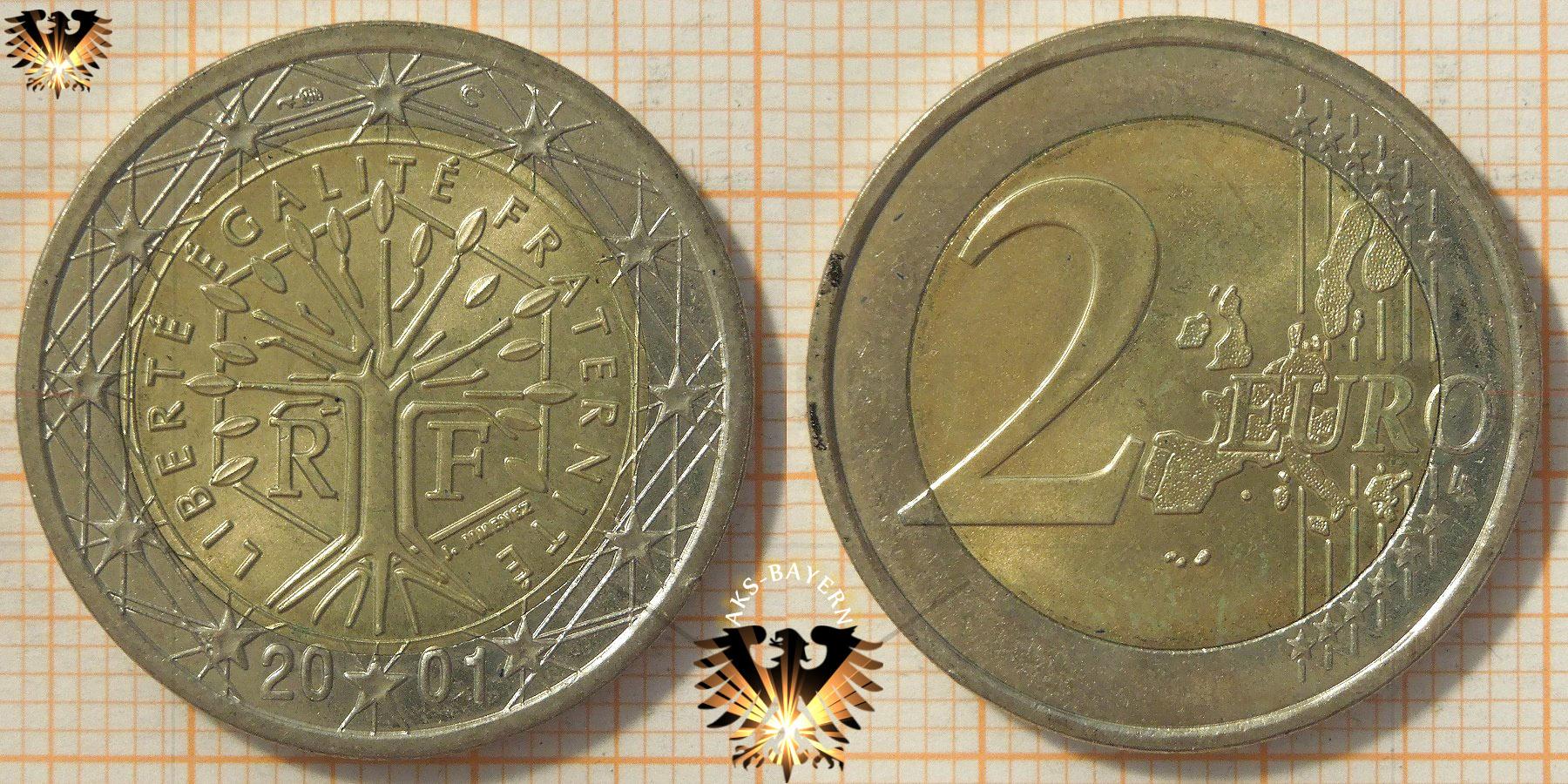 2 Euro Frankreich 2001 Nominal Baum Mit Hexagon
