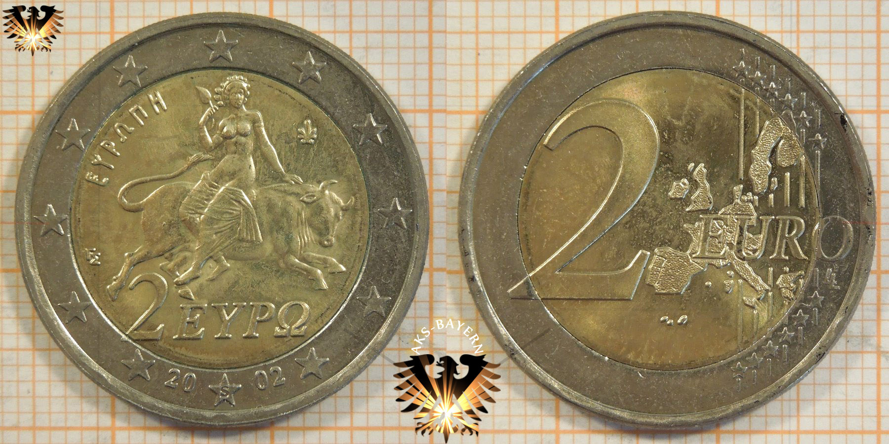 2 euro griechenland 2002 nominal. Black Bedroom Furniture Sets. Home Design Ideas