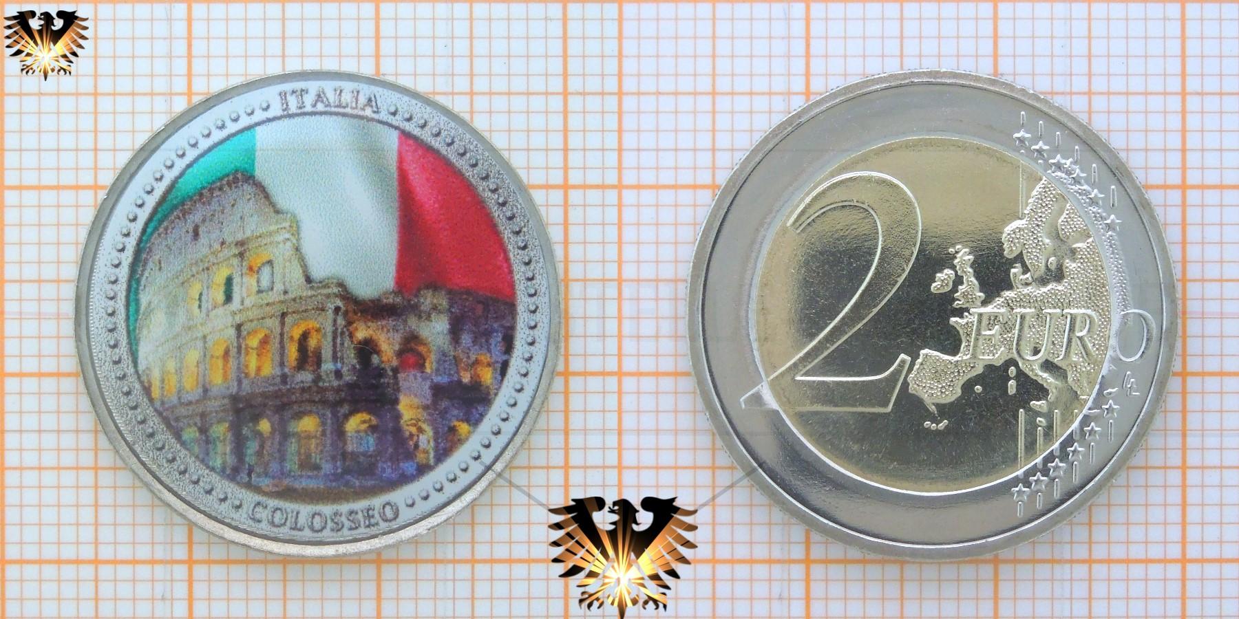 2 Euro Farbmünze Italien Colosseo Italia