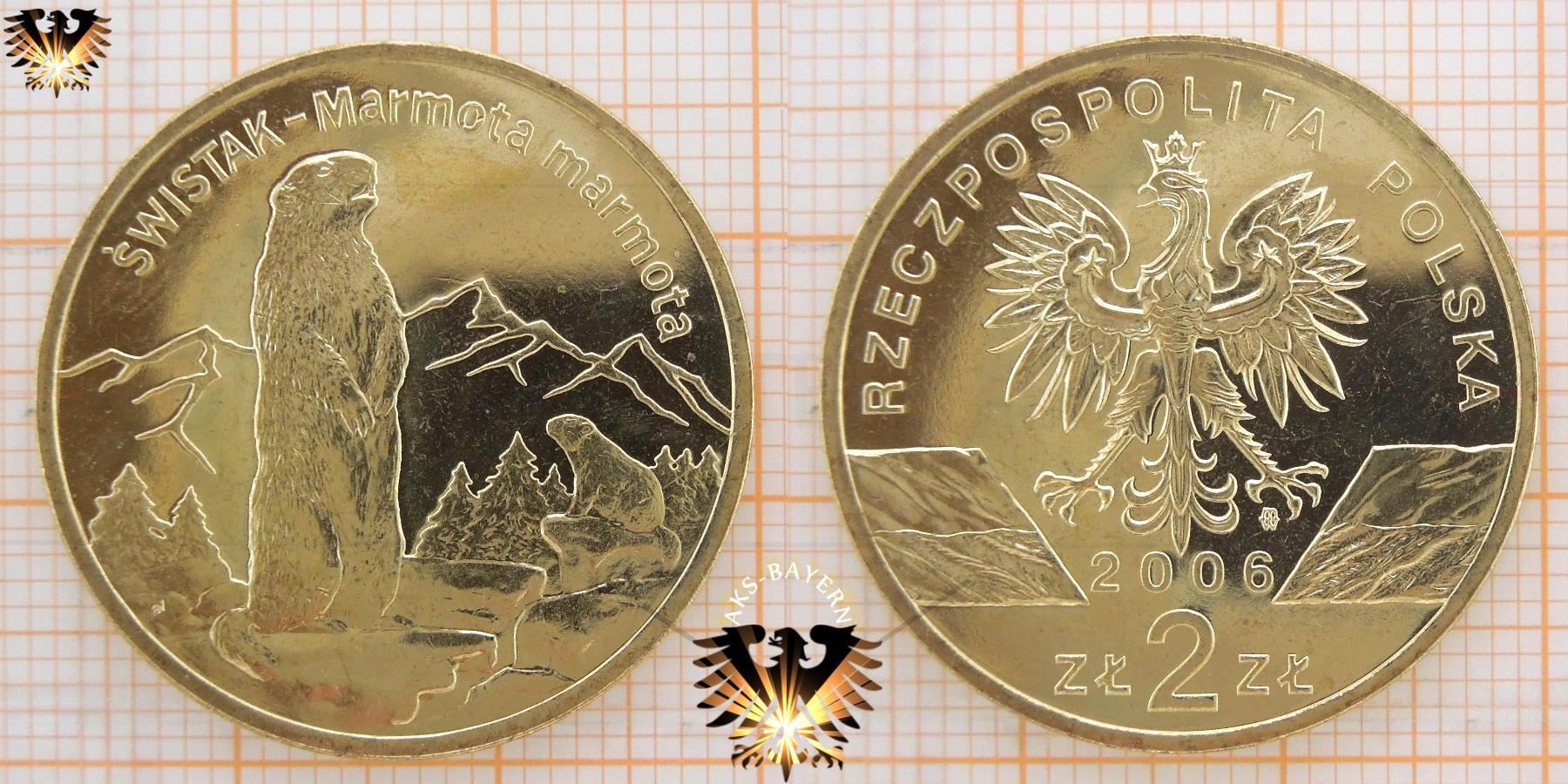 Münze 2 Złote Polen 2006 Swistak Marmota Marmota Schönes