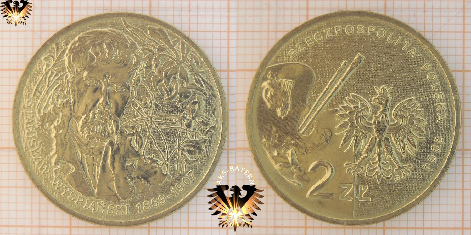 Münze 2 Złote Polen 2004 Stanislaw Wyspianski 1869 1907