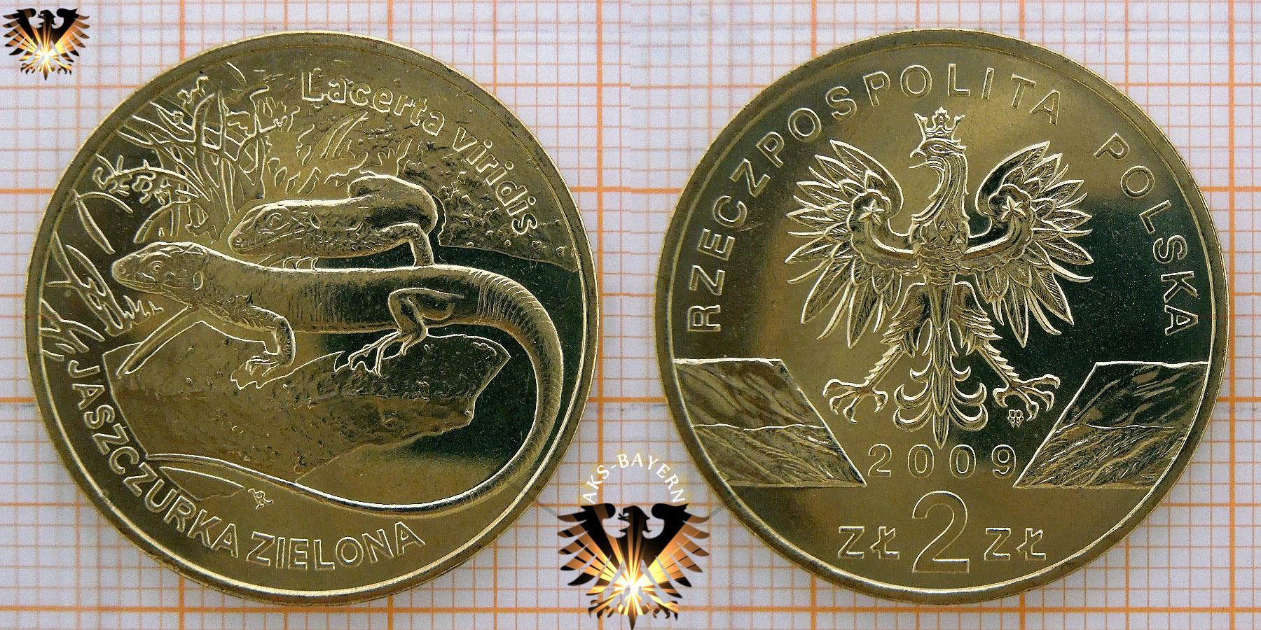 Münze 2 Złote Polen 2009 Lacerta Viridis Jaszczurka Zielona