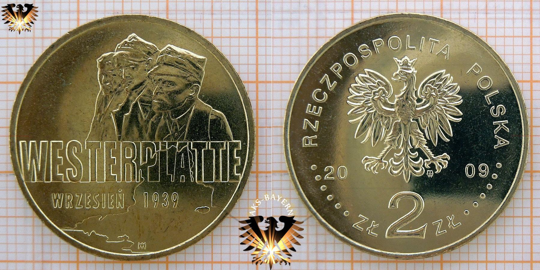 Münze 2 Złote Polen 2009 Westerplatte Septemper 1939 Mit