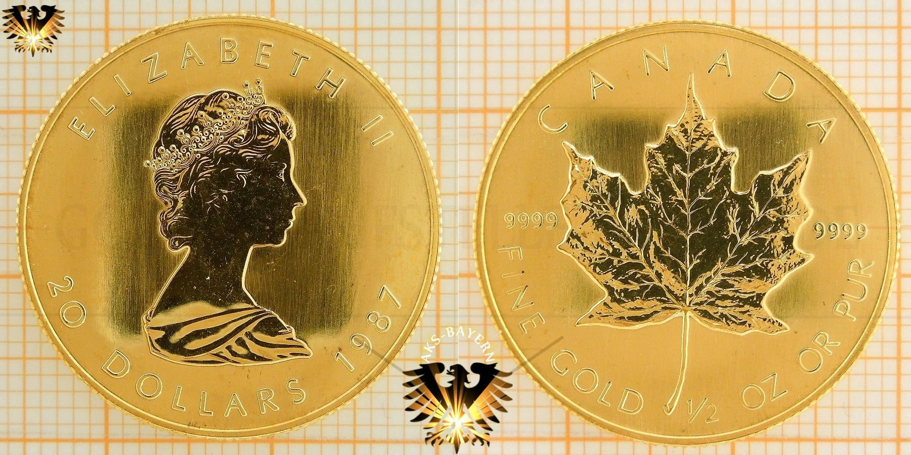 20 Dollars 1987 Maple Leaf Münze 12 Unze Gold