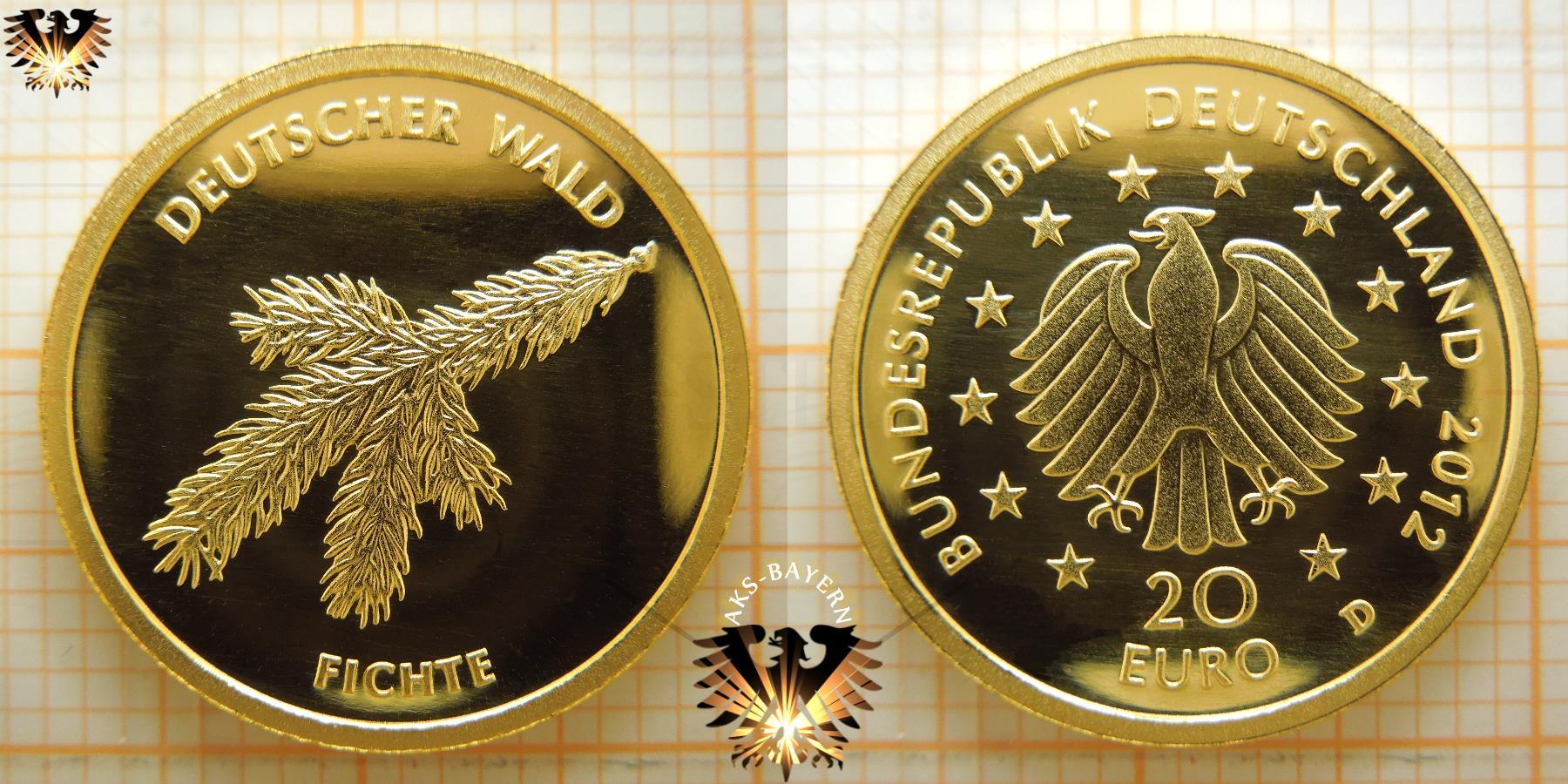20 €, BRD, 2012 D, Fichte Goldmünze © goldankaufstelle-bayern.de