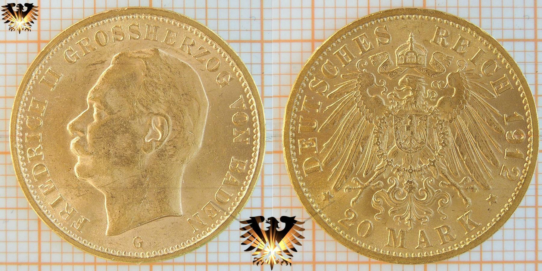 20 Mark Baden 1912 G Münze Friedrich 2 Deutsches Kaiserreich