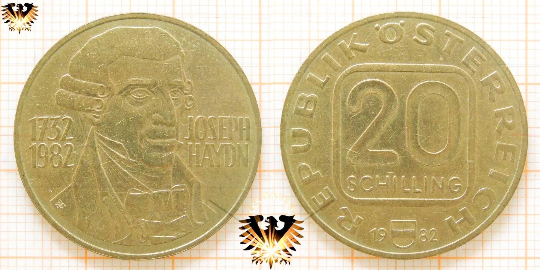 20 Schilling 1982 Joseph Haydn 1732 1982 Gednkmünze österreich