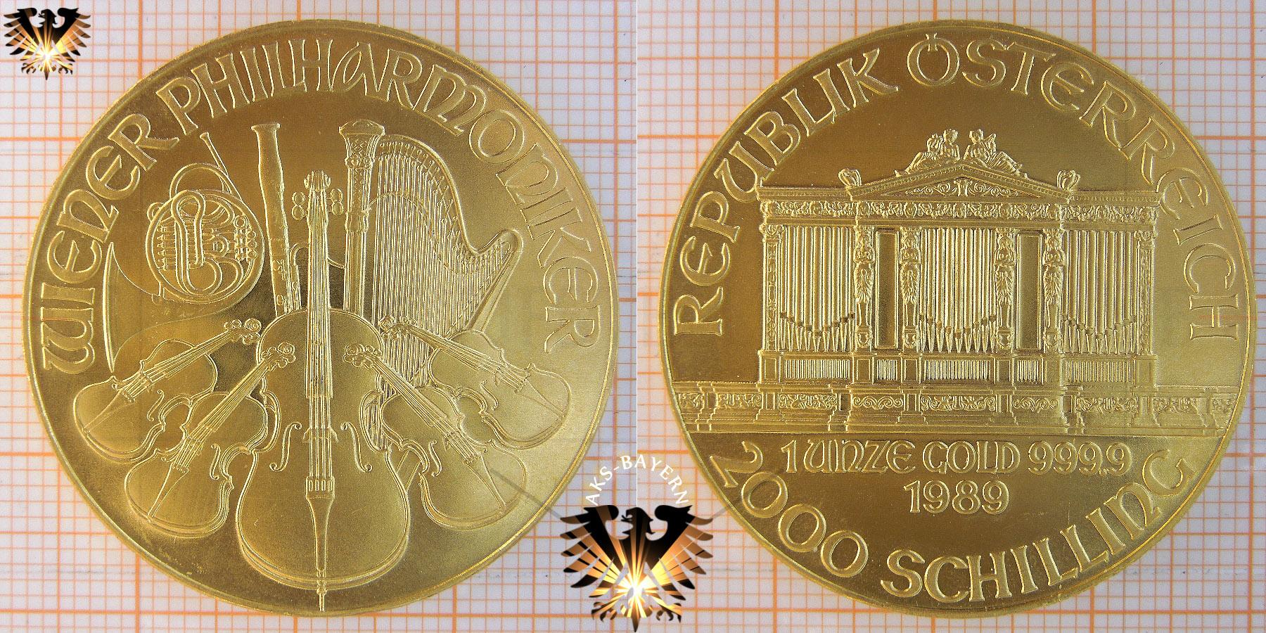2000, Schilling, Österreich, 1989,  Wiener Philharmoniker 1 Unze Bulliongold © goldankaufstelle-bayern.de