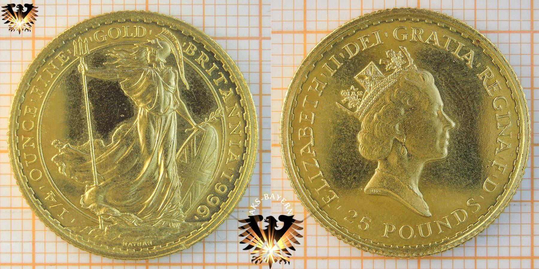 Britannia, 1/4 ounce finegold, 1996, Großbritannien, 25 Pounds, UK © goldankaufstelle-bayern.de