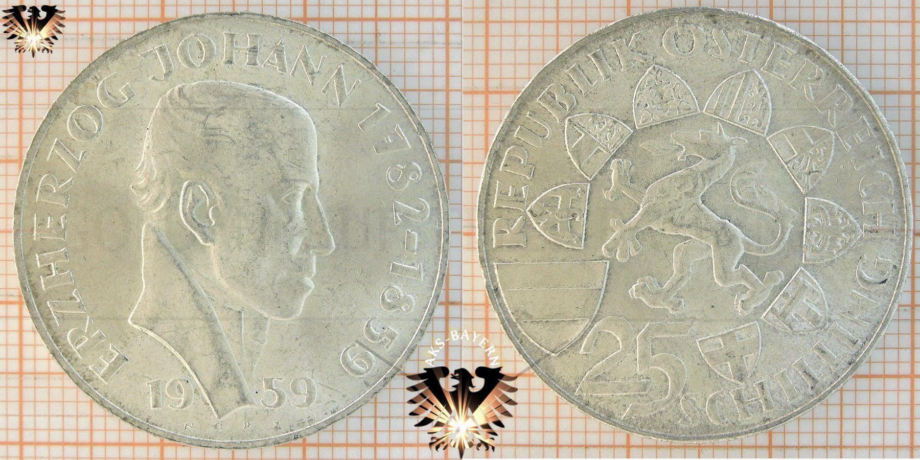 25 Schilling 1959 Erzherzog Johann 1732 1850 Münze österreich