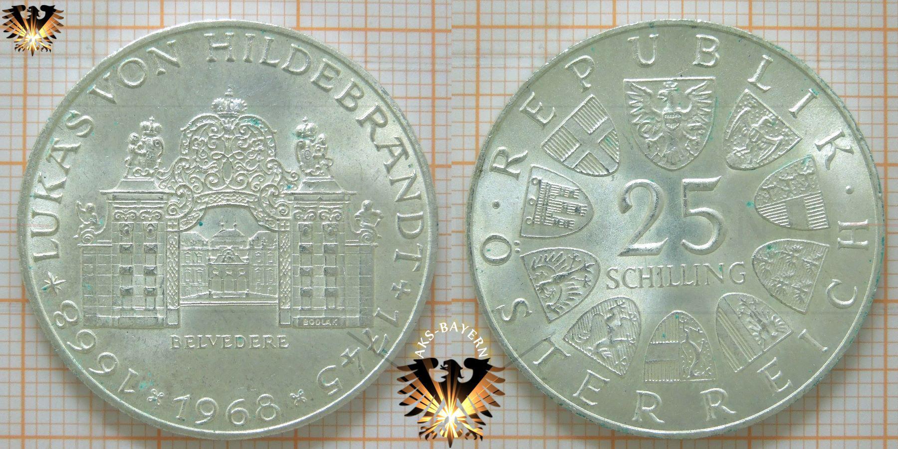 25 Schilling 1968 Lukas Von Hildebrandt 1745 1668 Belvedere