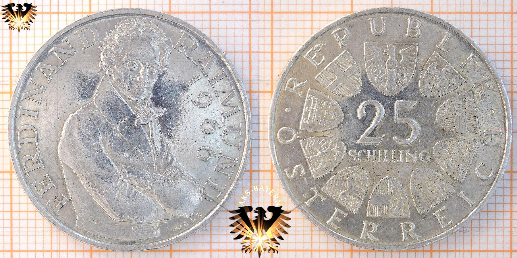 25 Schilling 1966 Ferdinand Raimund österreich Silber Gedenkmünze