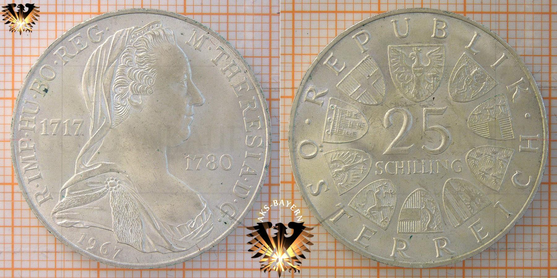 25 Schilling 1967 Maria Theresia österreich Silber Sondermünze
