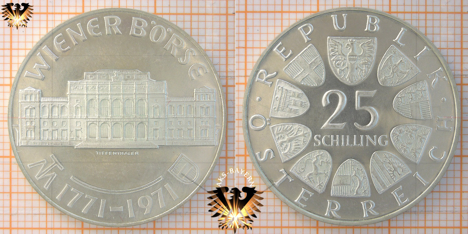 25 Schilling 1971 Wiener Börse 1771 1971 Gedenkmünze Silbermünze