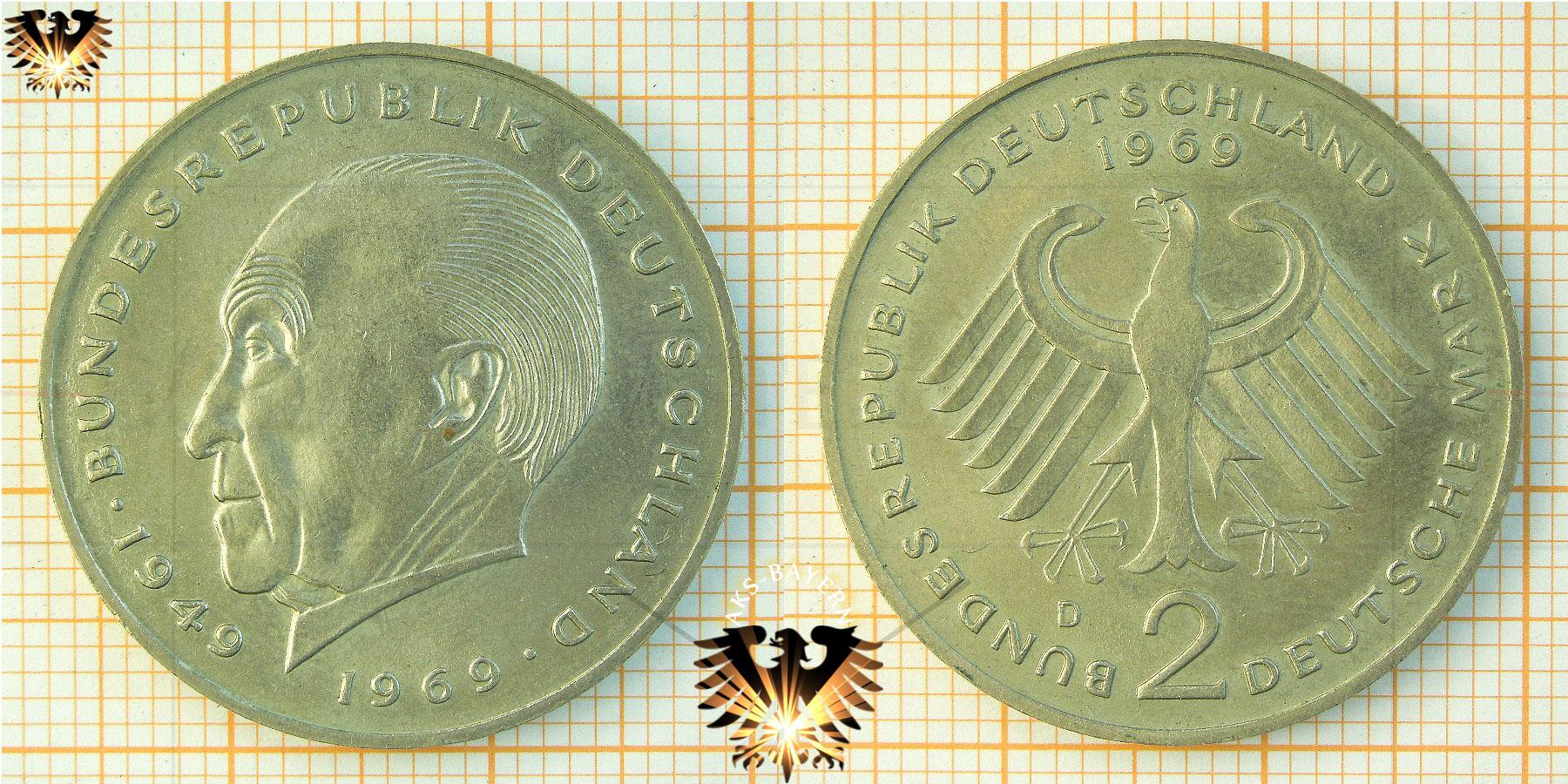 2 Dm Brd Konrad Adenauer 1949 Bundesrepublik Deutschland 1969