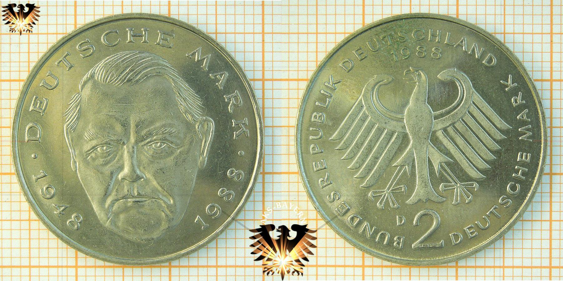 2 Dm Brd Ludwig Erhard 1948 Deutsche Mark Münze 1988