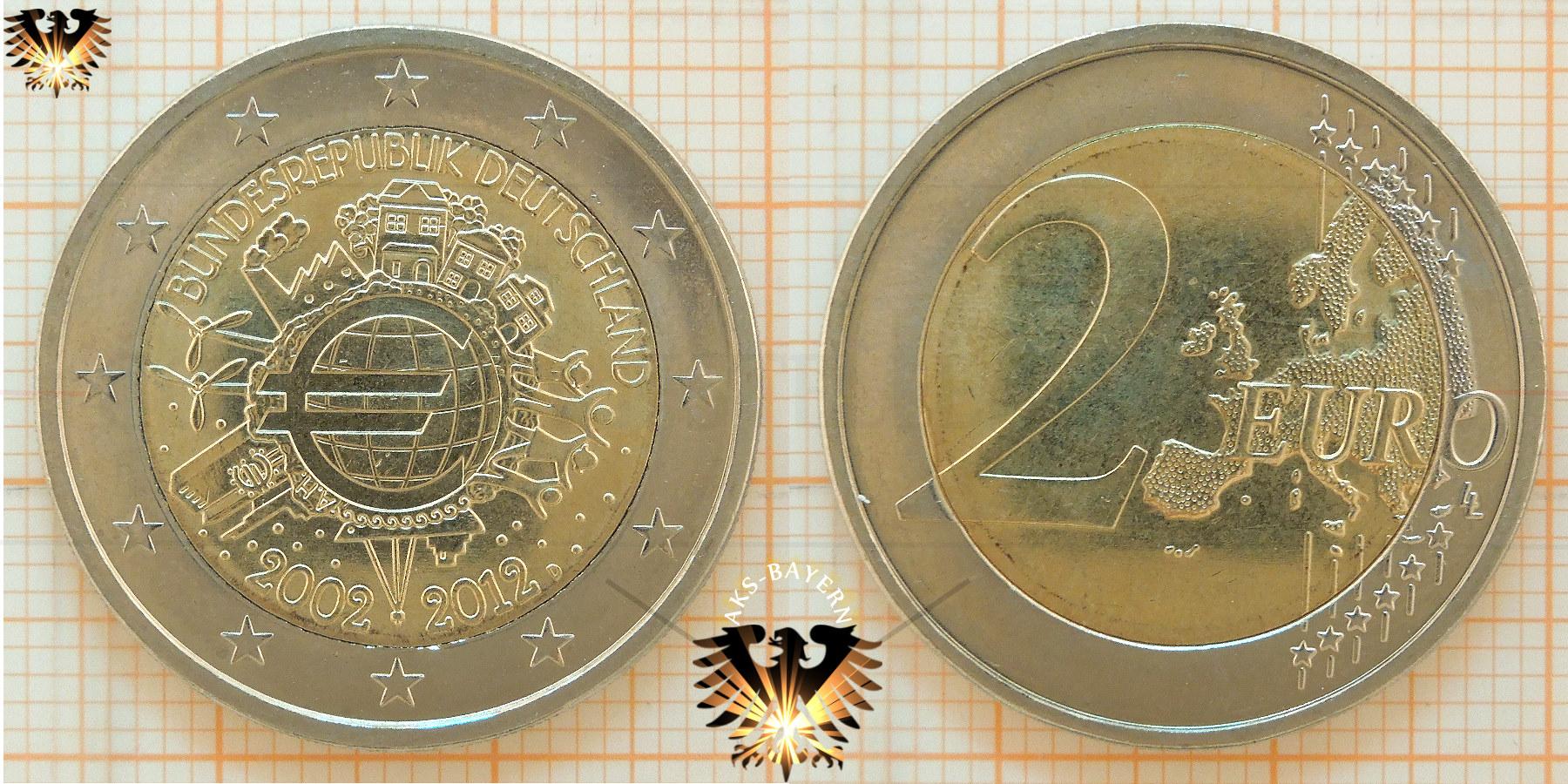 2 Brd 2012 A D F G J Gedenkmünze 10 Jahre Euro