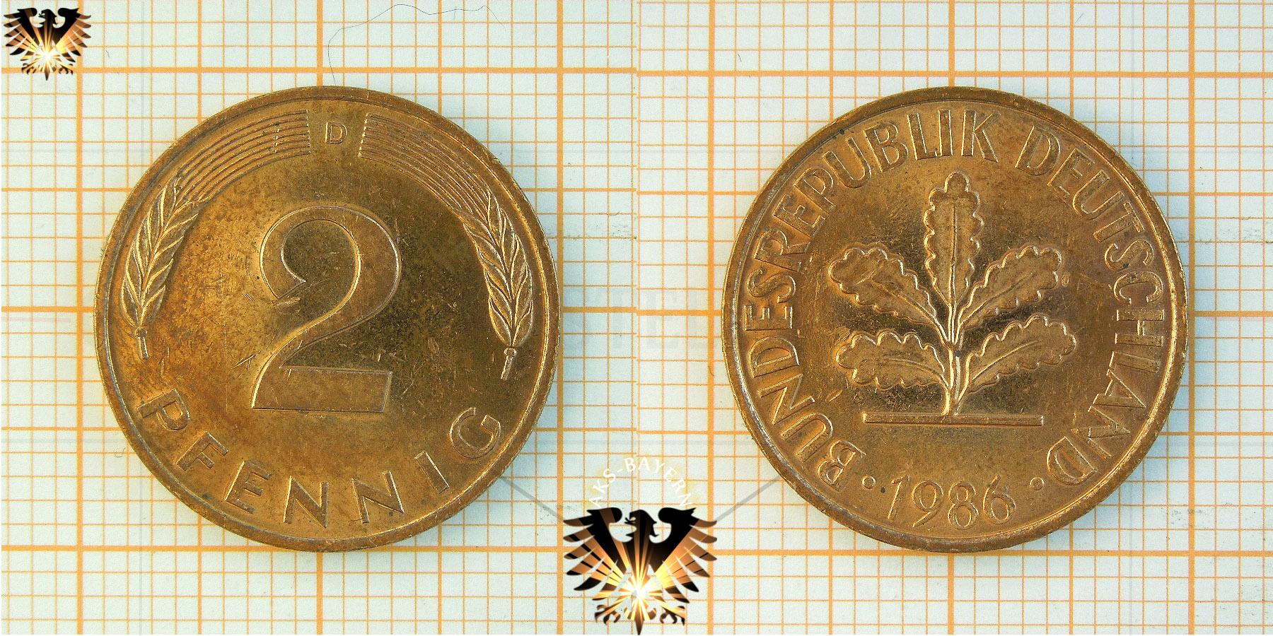 2 Pfennige Münze Brd Nominal 1950 Bis 2001