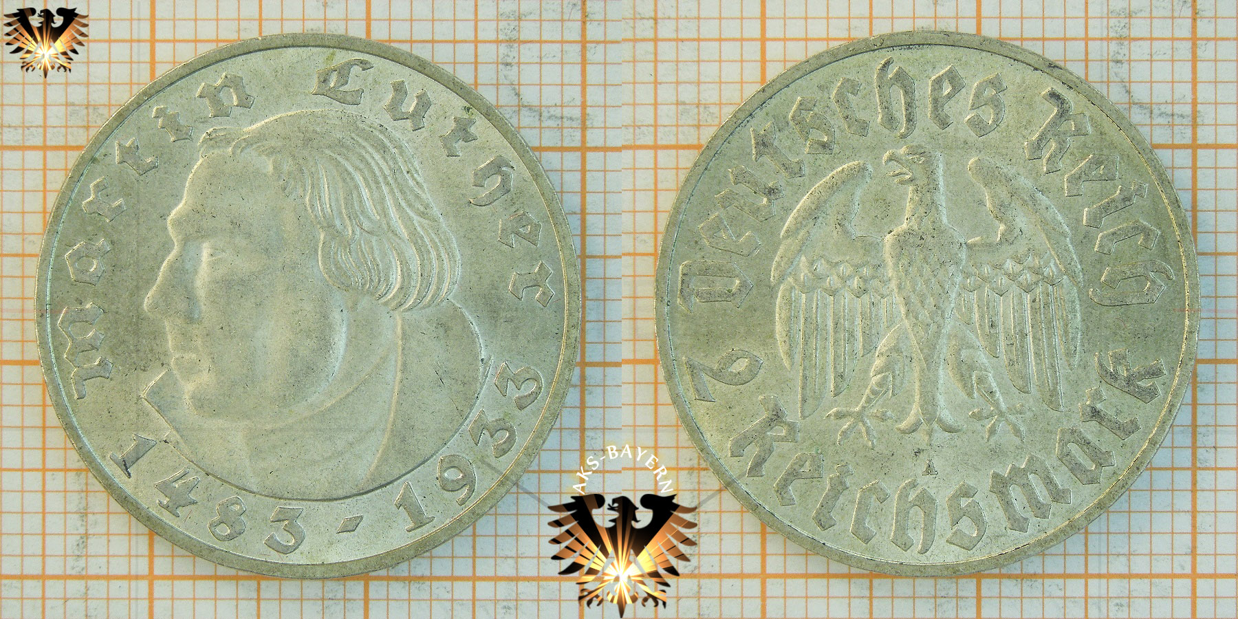 2 Reichsmark Münze 1933 Martin Luther Gedenkmünze