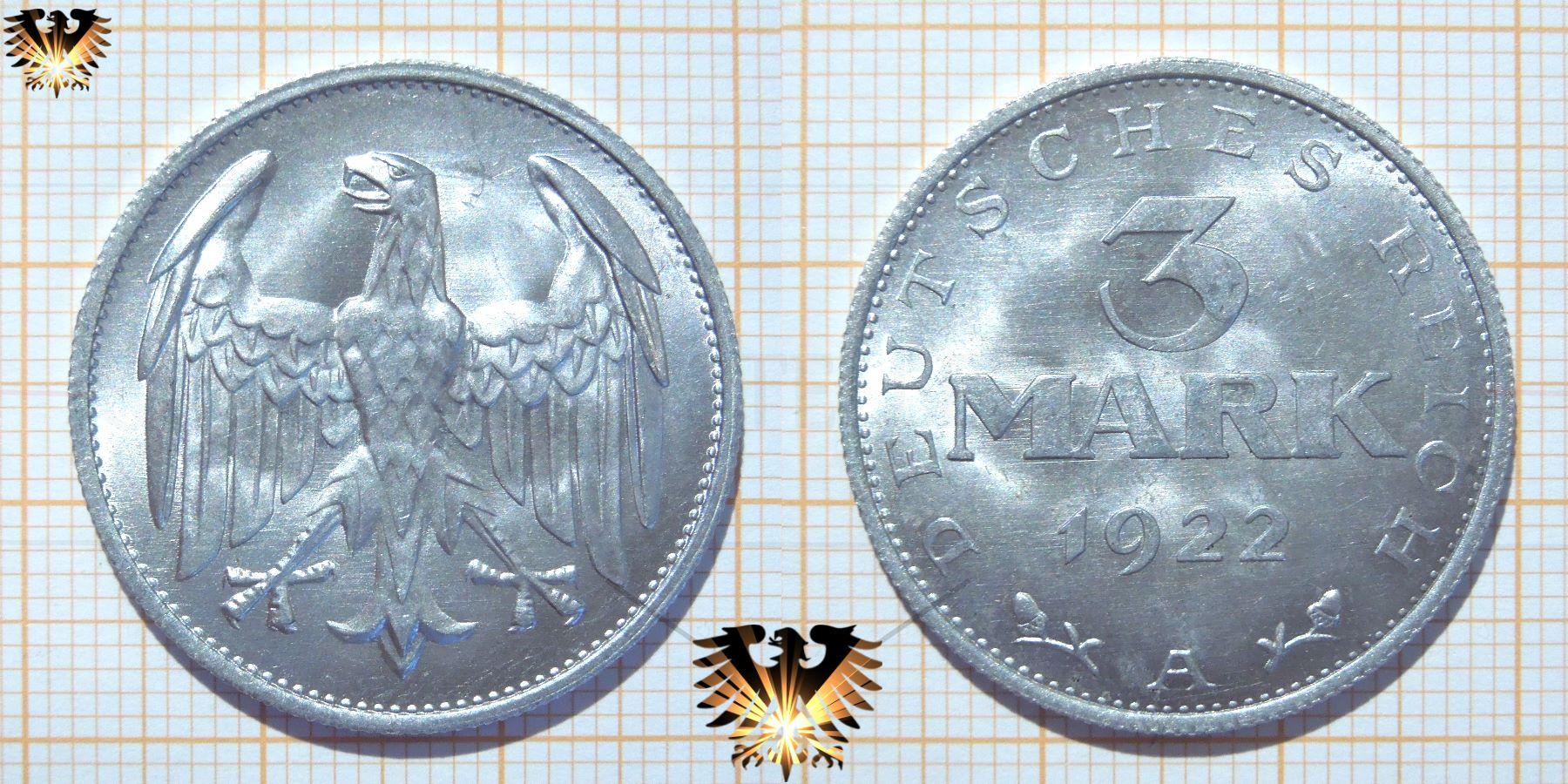 3 Reichsmark 1922 Weimarer Ersatz Inflations Geld Münzen