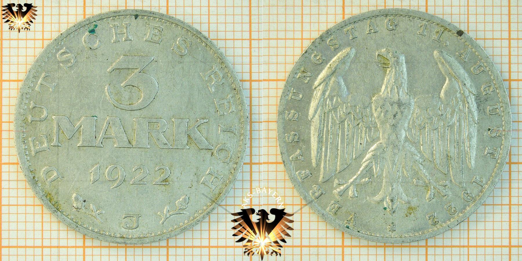deutsches reich 3 mark 1922