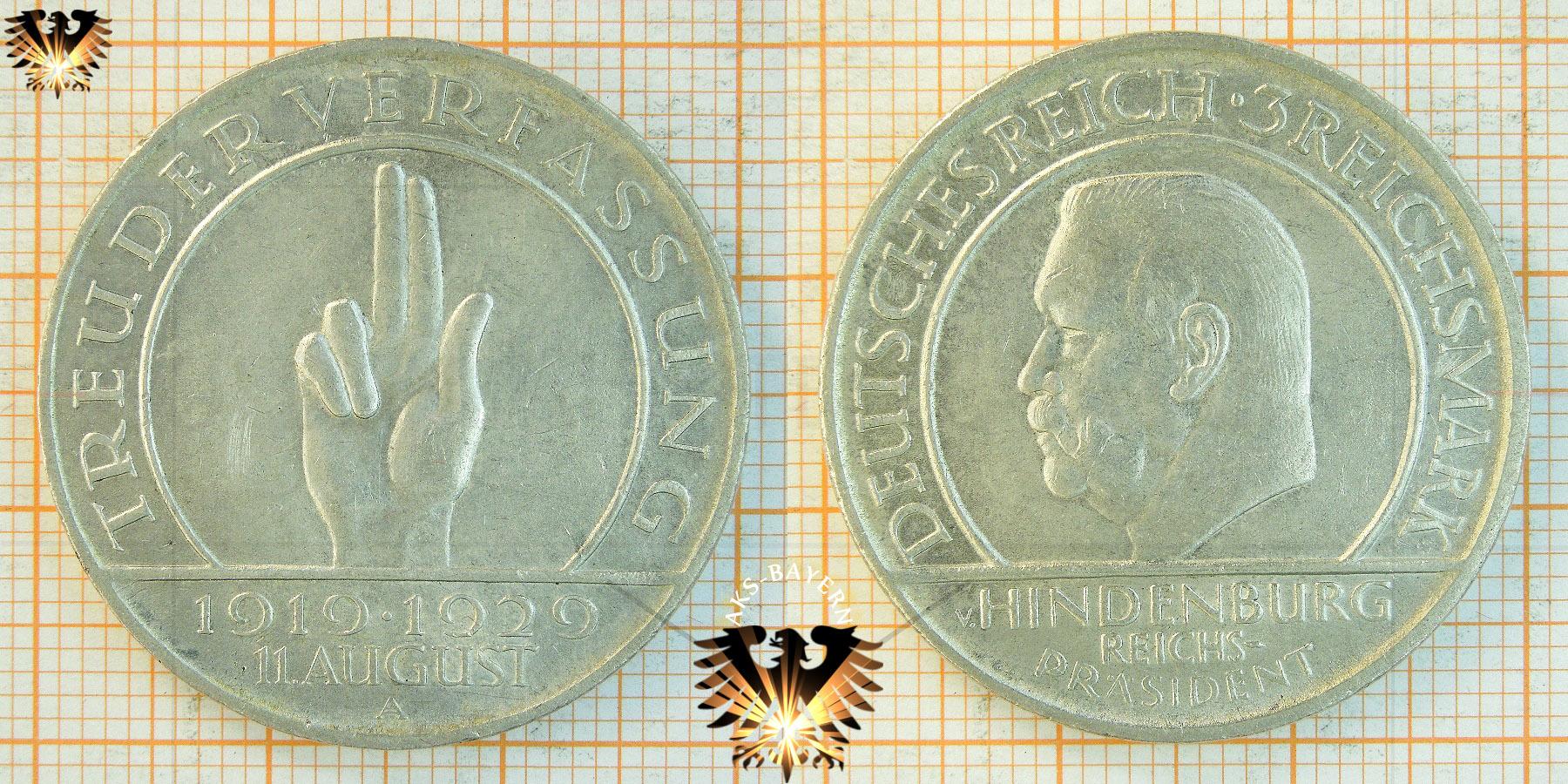 3 Reichsmark Münze 1929 A Treu Der Verfassung Hindenburg