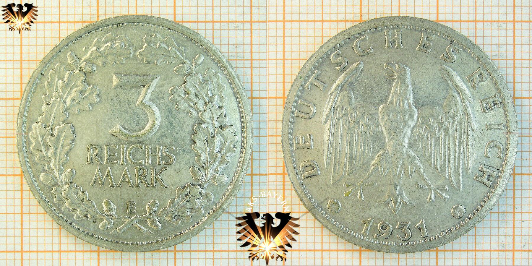 3 Reichsmark 1932 D Goethe Sammler Münze