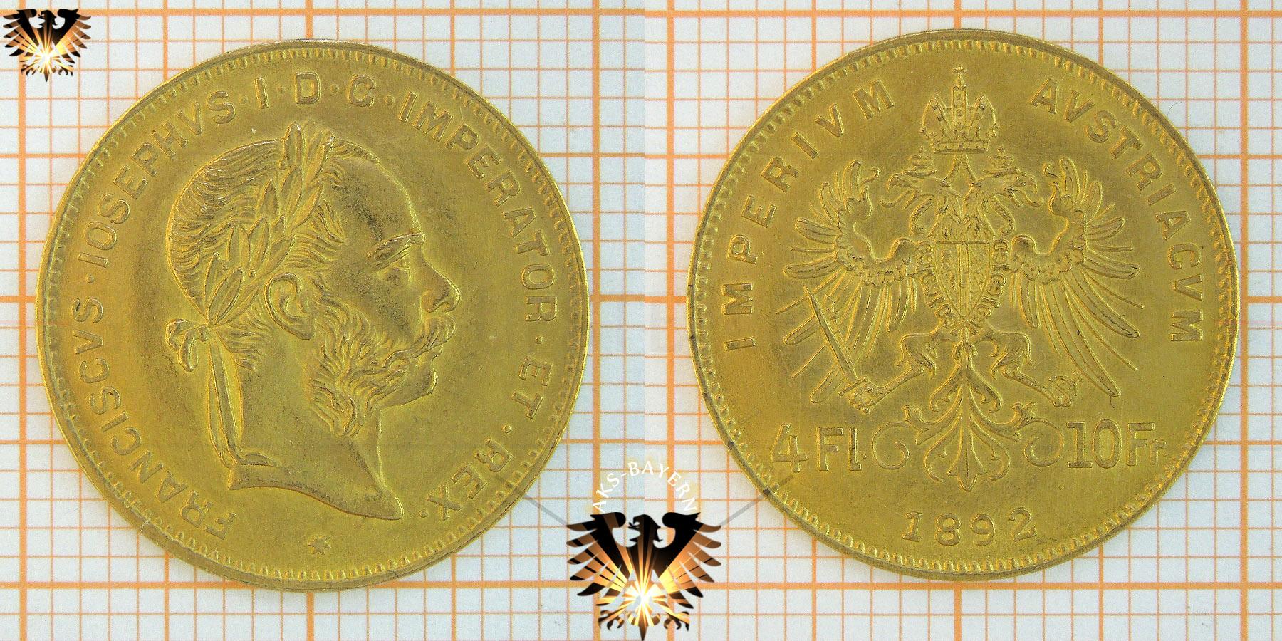 4 Gulden 4 Florin 10 Francs Goldmünzen österreich 1892