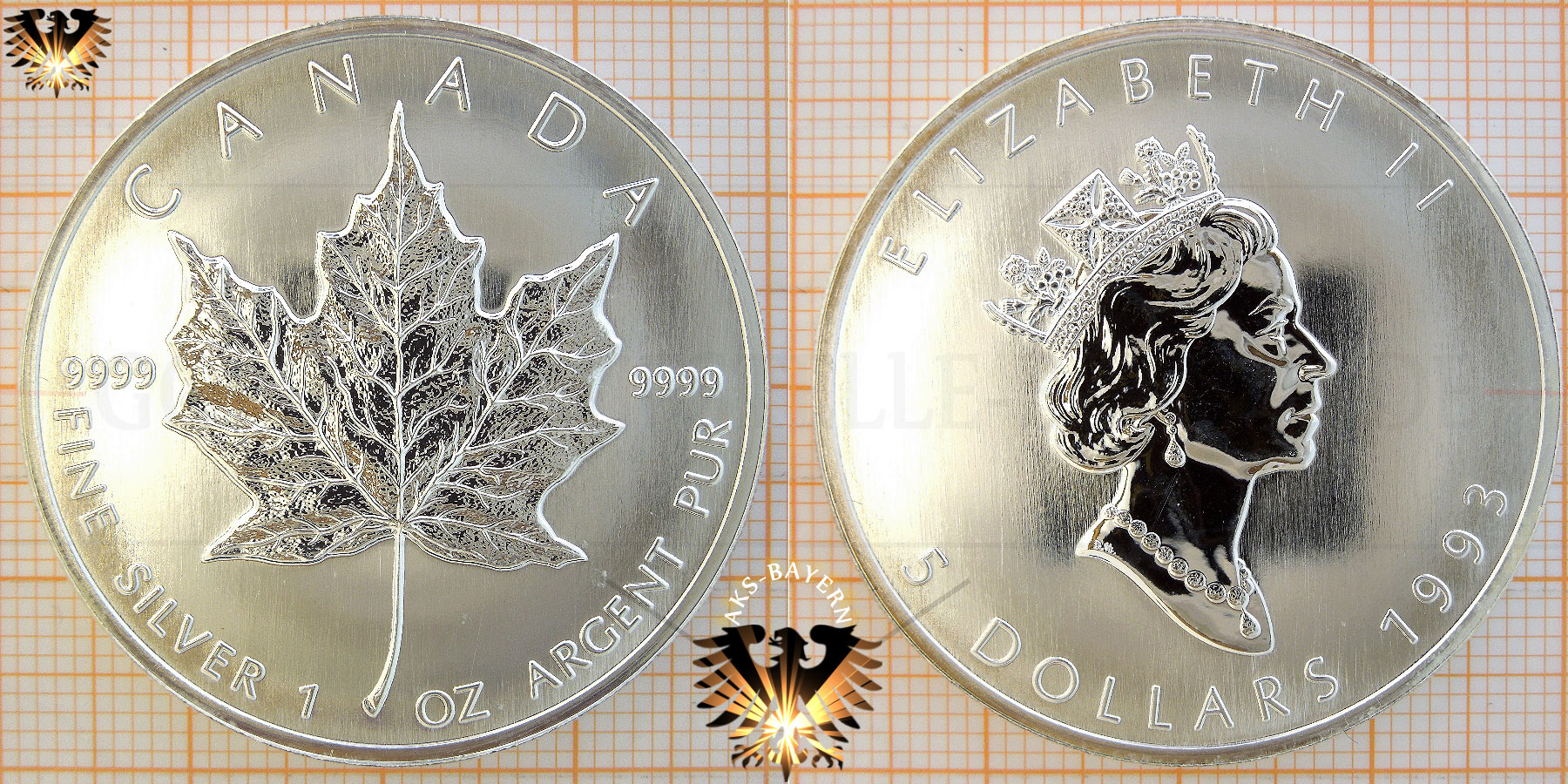Bullionmünze: CAN, 5 Dollars, 1993, Canada, Maple Leaf 1 oz © goldankaufstelle-bayern.de