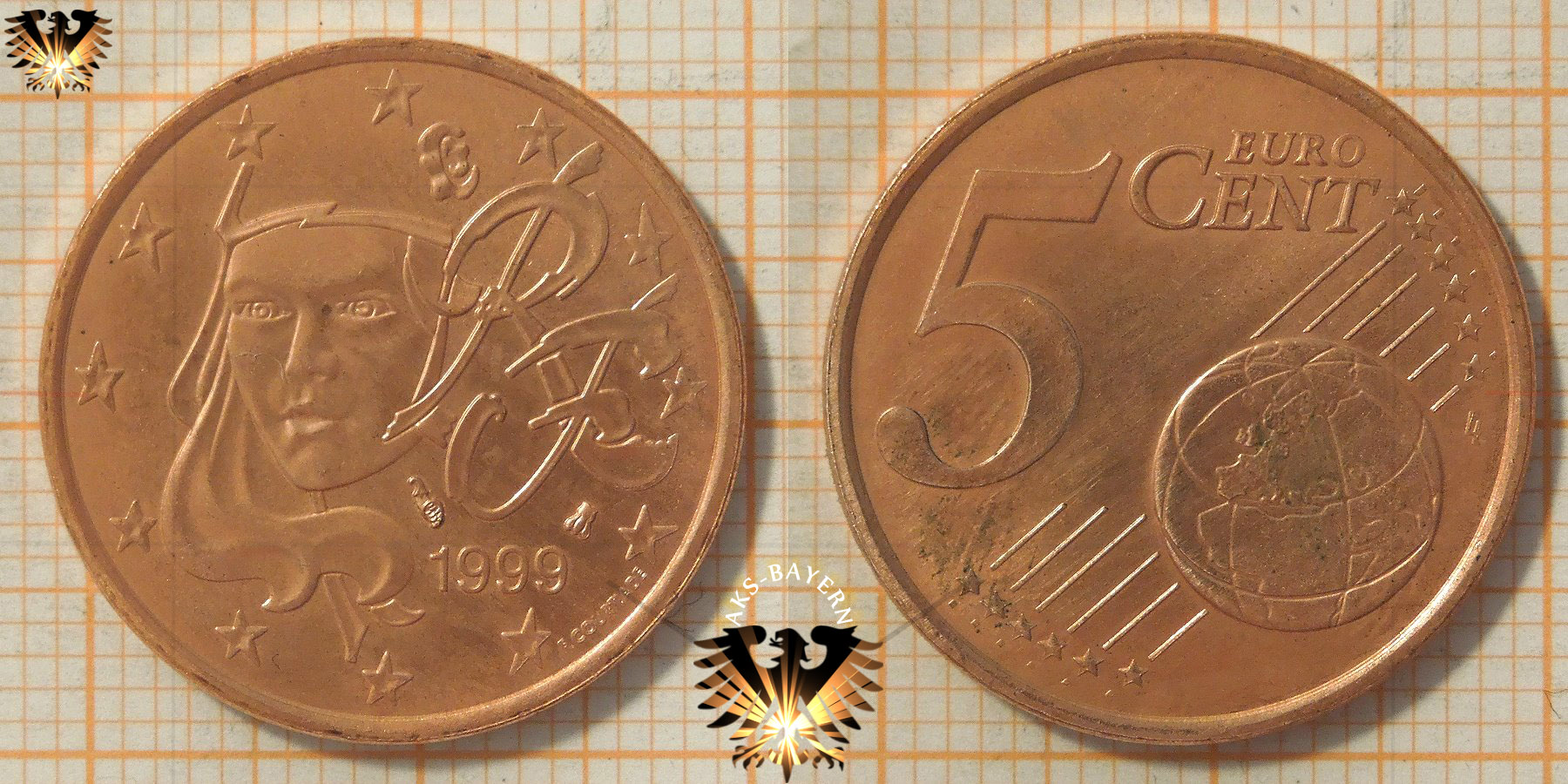 5 Euro Cent Frankreich 1999 Nominal