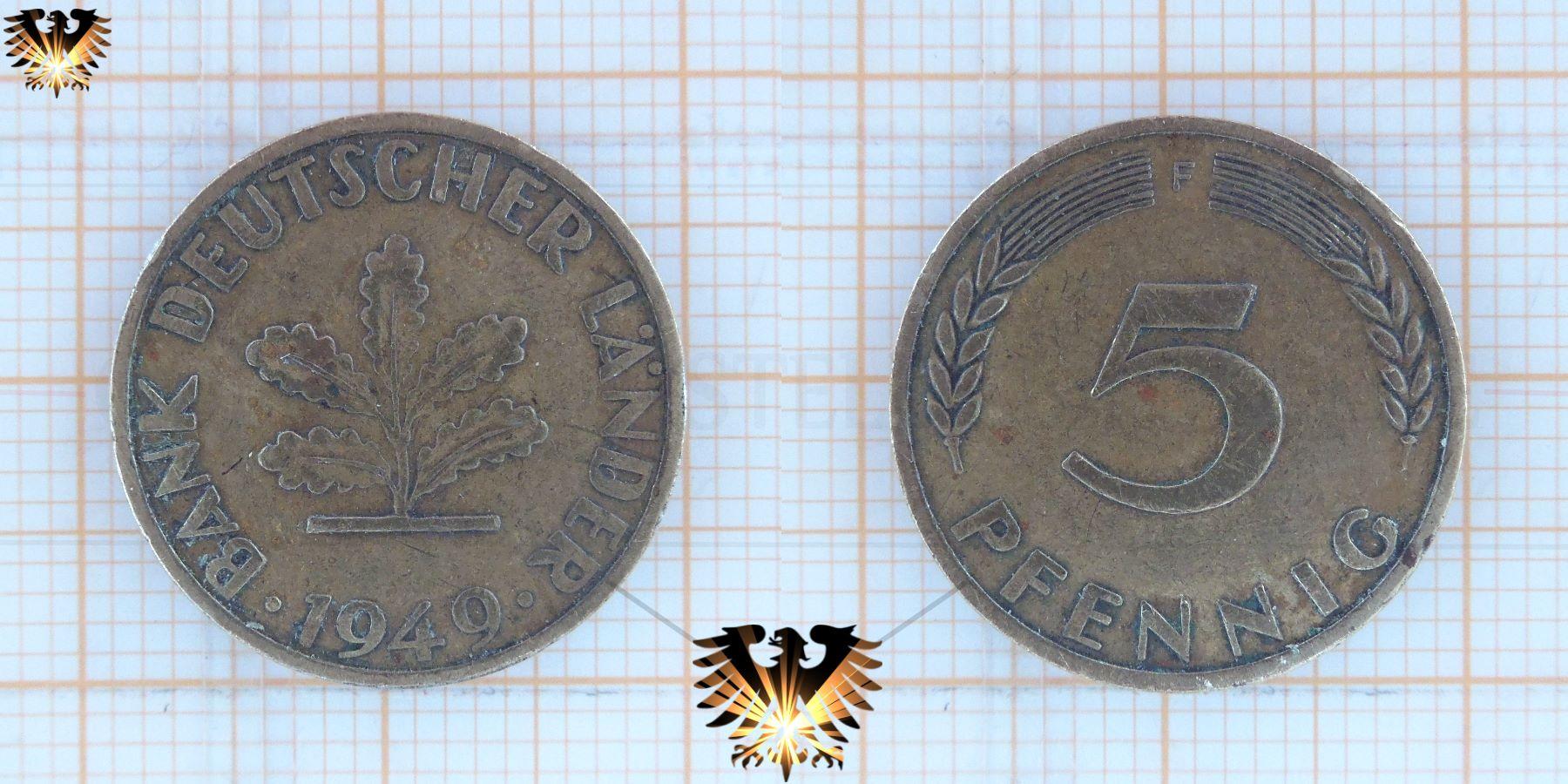 5 Pfennig 1949 Münze Der Bank Deutscher Länder