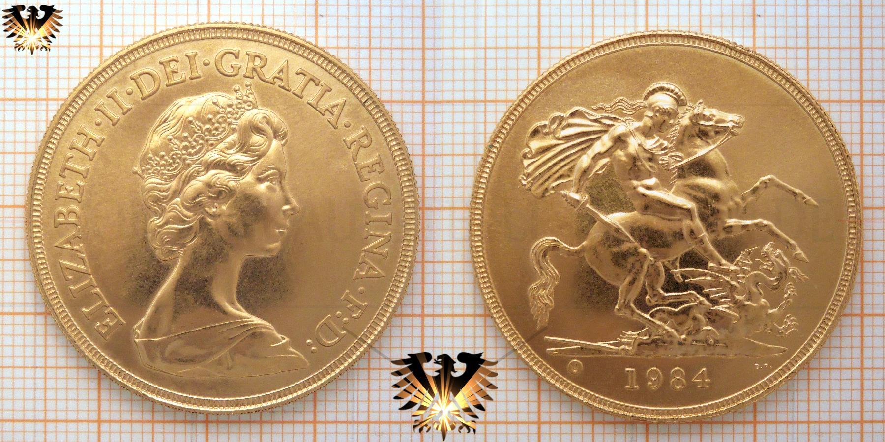 5 Pound Sovereign 1984 Bu Elizabeth Ii Dei Gratia Regina F D