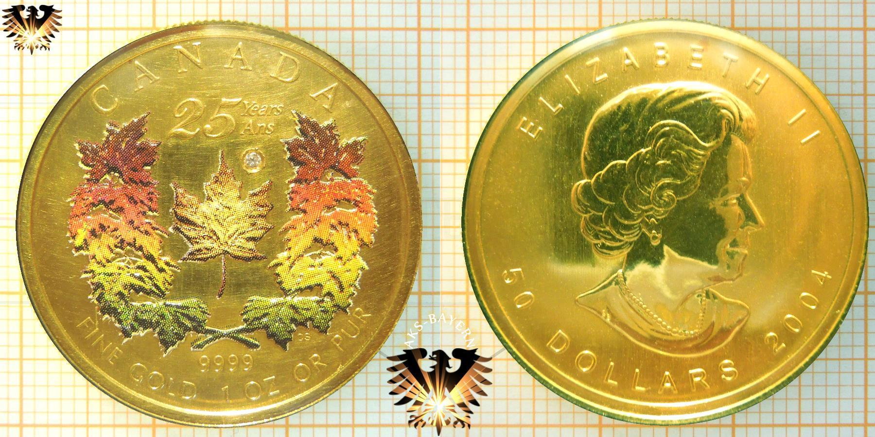 50 Canada Dollar 2004 Maple Leaf Farbmünze 1 Unze Gold Echter