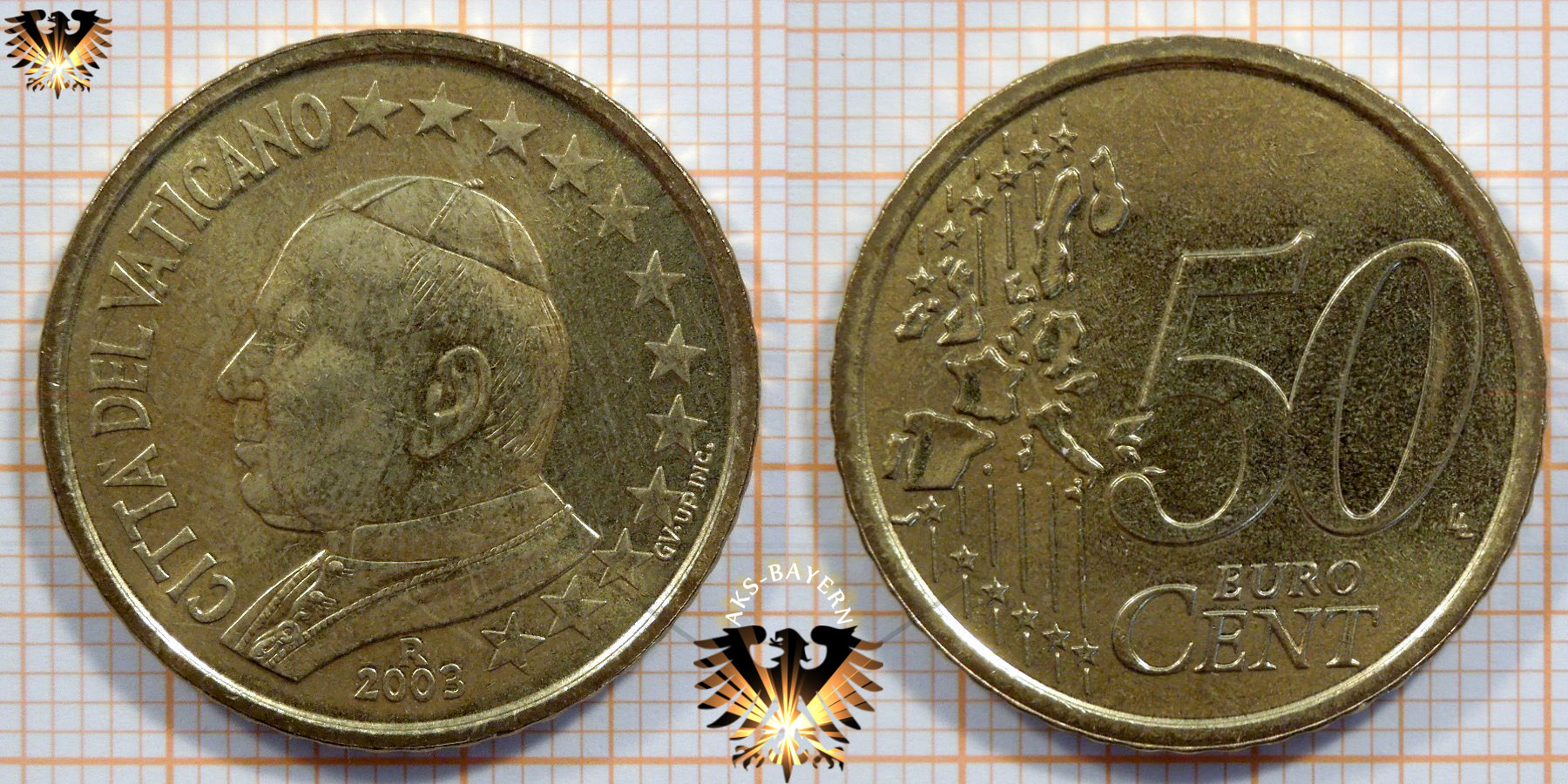 50 Euro Cent Münze Nominal Vatikan 2003 Papst Johannes Paul Ii