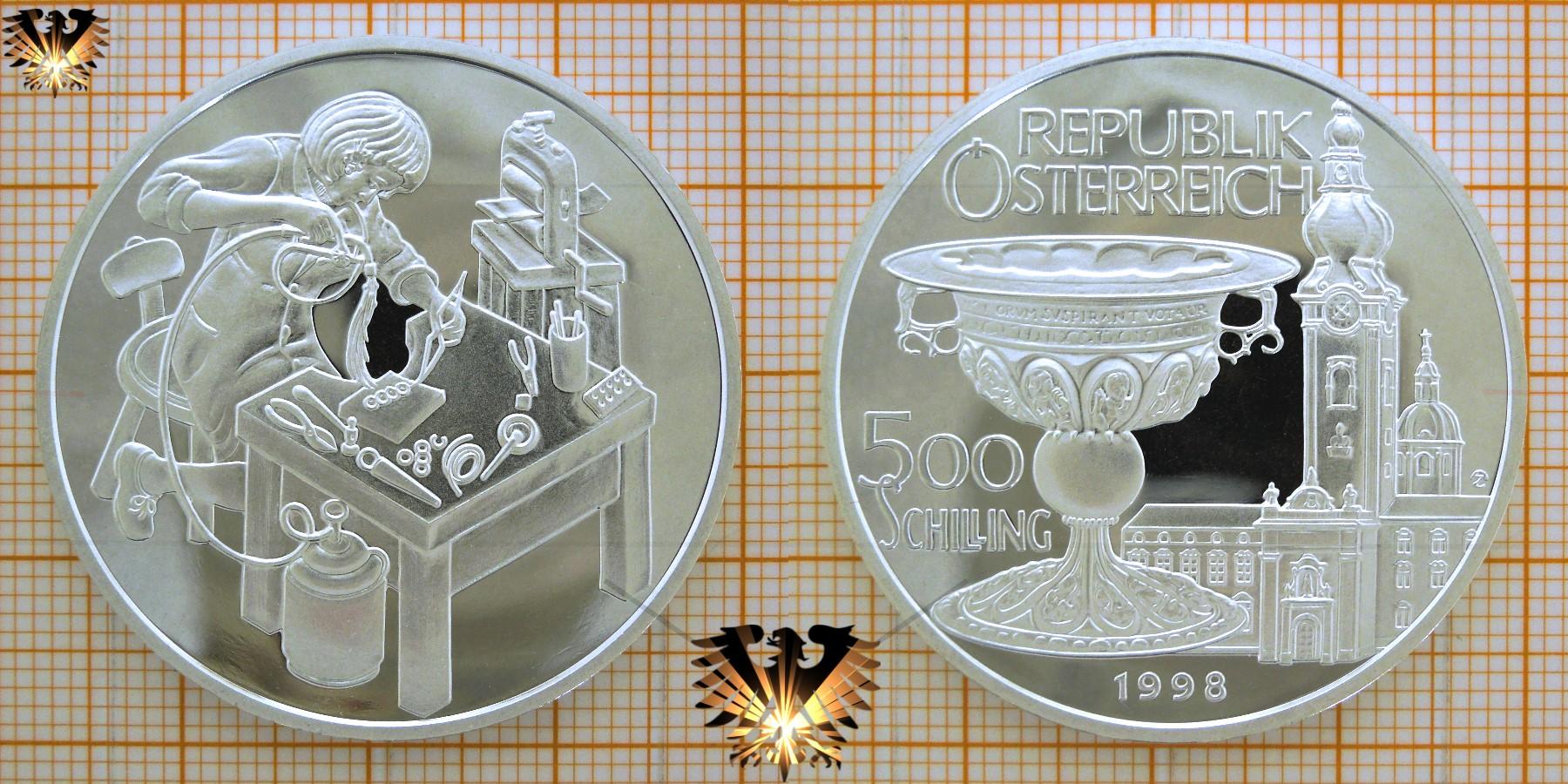 500 Schilling 1998 Der Goldschmied Republik österreich Münze Silber