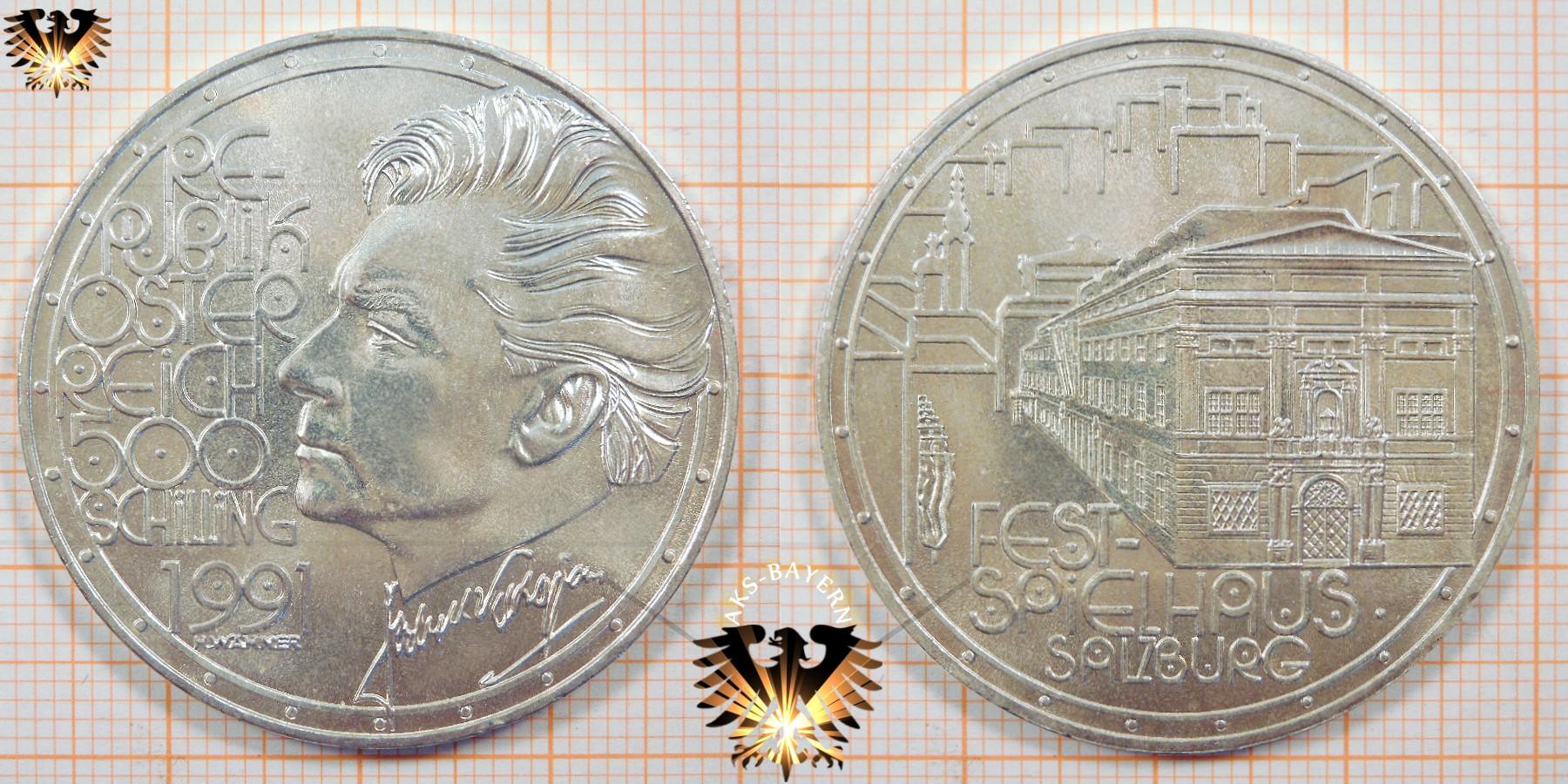 500 Schilling 1991 Herbert Von Karajan Silbermünze österreich