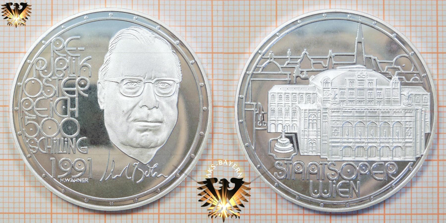 500 Schilling 1991 Karl Böhm Silber österreich