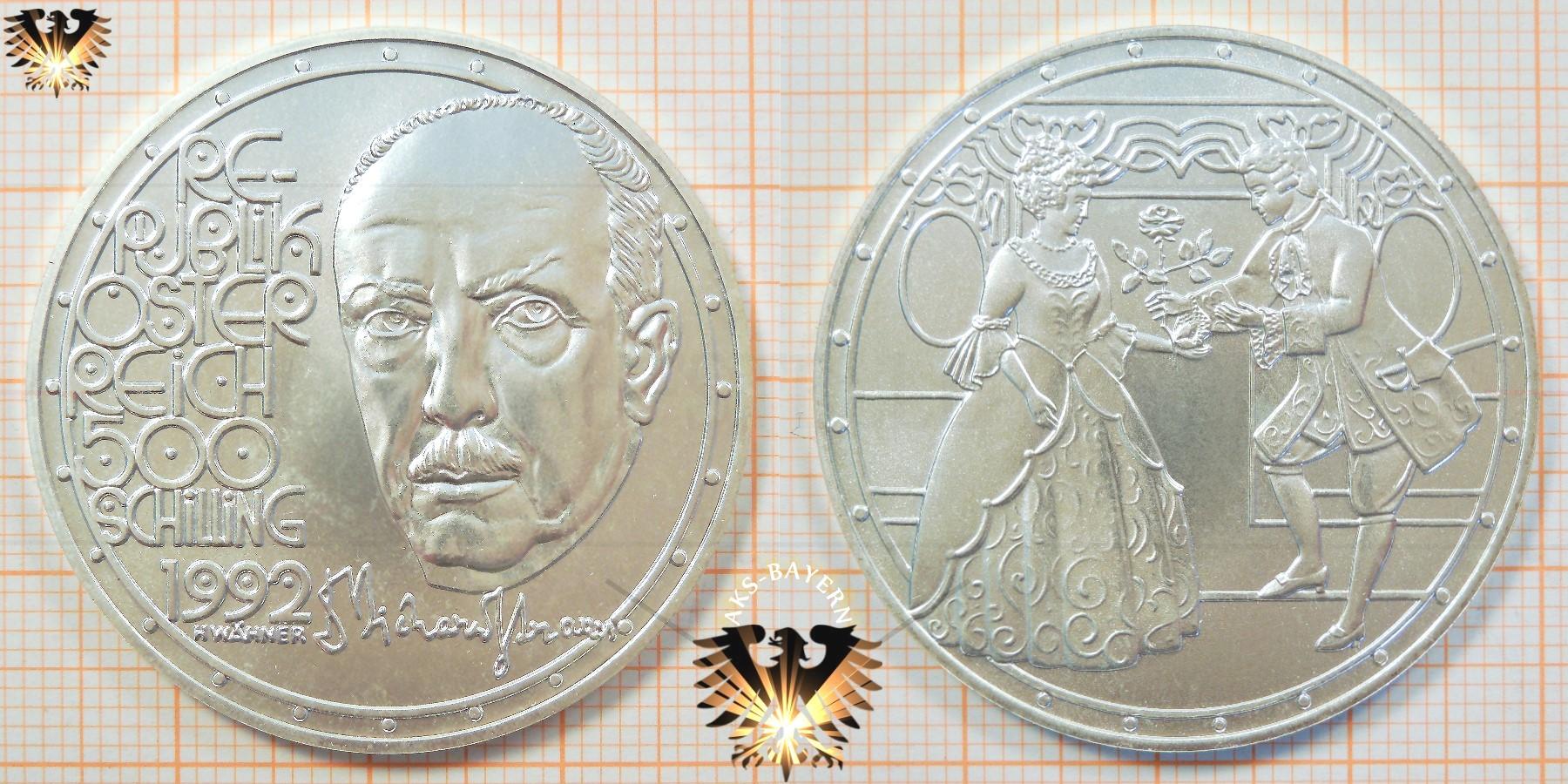 500 Schilling 1992 Richard Strauss Silbermünze österreich