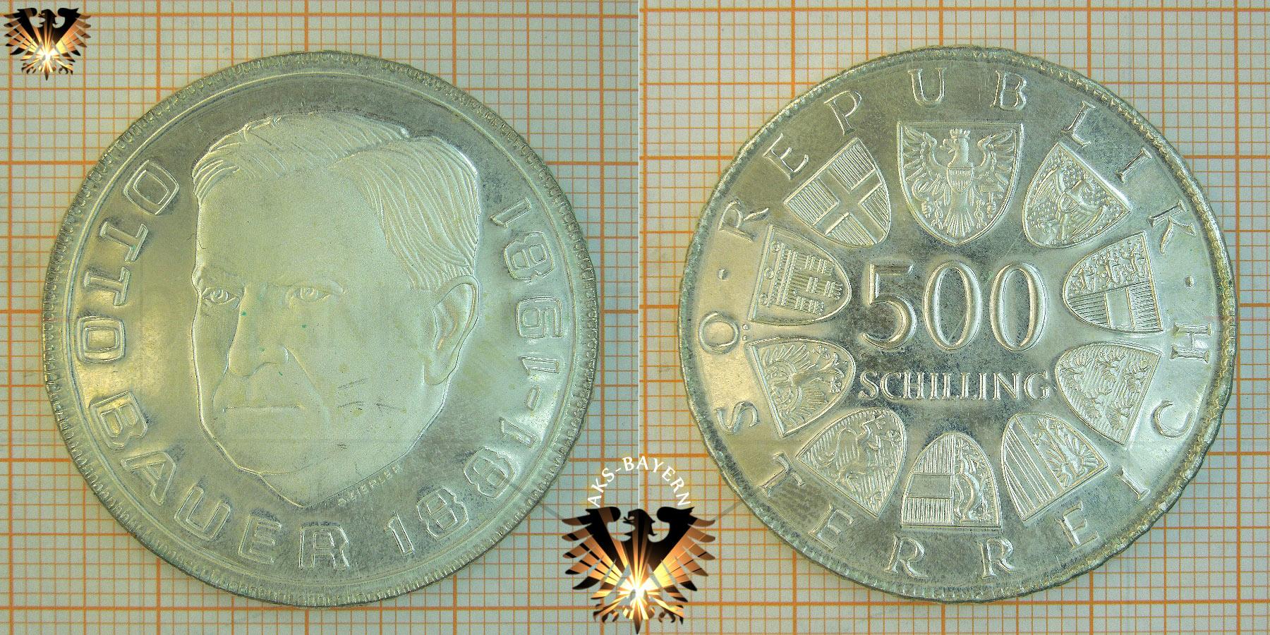 500 Schilling 1981 Otto Bauer Gedenkmünze In Silber