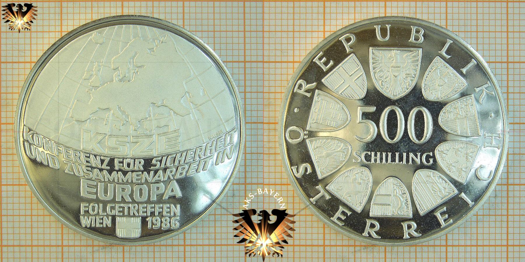 500 Schilling 1986 Ksze Europa Konferenz Silber österreich