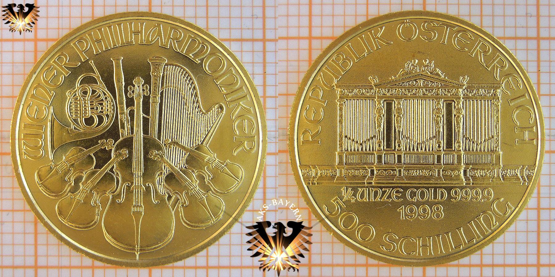 500 Schilling österreich 1998 Wiener Philharmoniker Viertel Unze