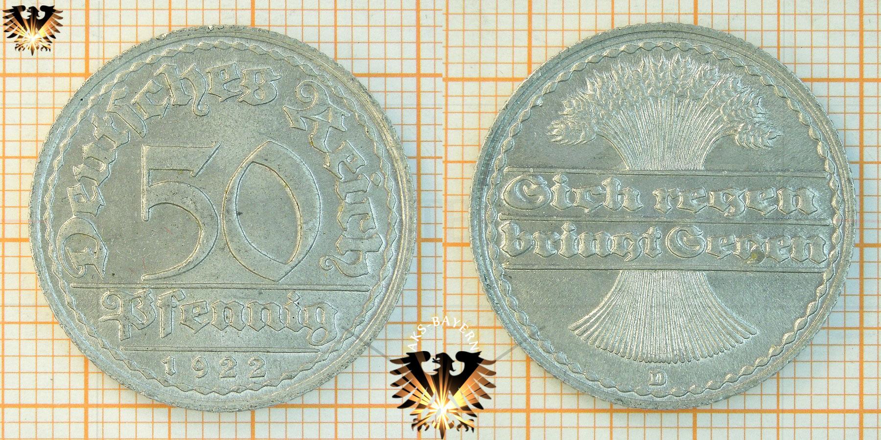 50 Pfennig 1922 Deutsches Reich Aluminium Münze