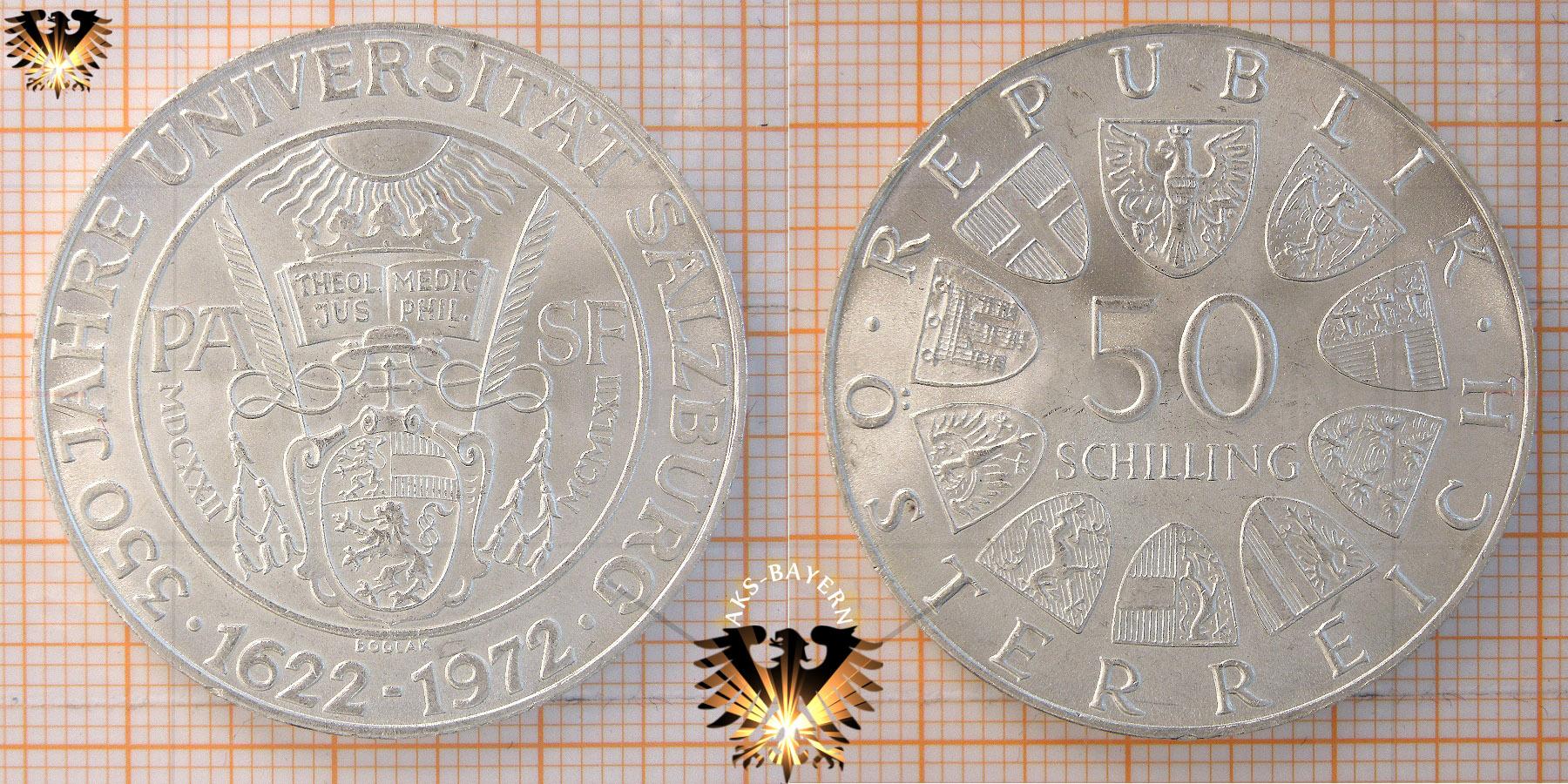 50 Schilling 1972 350 Jahre Universität Salzburg Silber Münze
